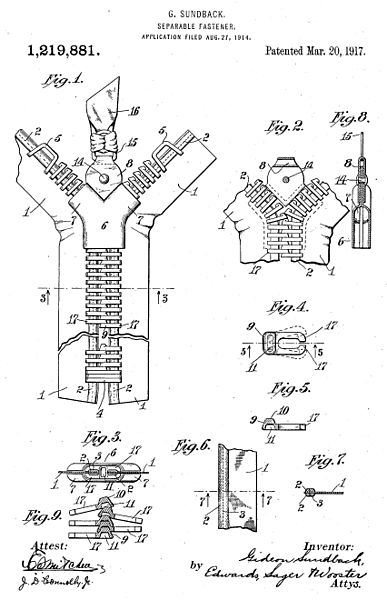 patente cremallera invento