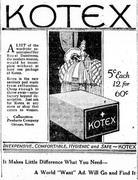 Un anuncio en el periódico Kotex desde 1920.