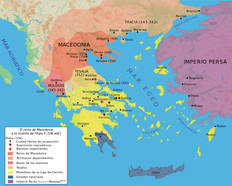 Mapa del reino de Filipo II