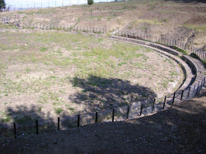 Restes del teatre on va ser assassinat Filip II, a l'actual ciutat de Vergina.