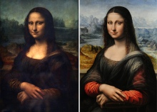 This combo picture made on February 1, 2012 shows a picture taken at Paris Louvre Museum on April 05, 2005 of the Portrait of Mona Lisa painted by Leonardo da Vinci (L) and a picture taken at Madrid's Prado Museum on February 1, 2012 of an authenticated contemporary copy of Leonardo da Vinci's Mona Lisa (R). The Prado Museum in Madrid presented on February 1, 2012 an authenticated contemporary copy of Leonardo da Vinci's Mona Lisa after it was found in its vaults. According to details of experts' findings published by the specialist British journal The Art Newspaper and the Spanish media, the work is a copy painted in Da Vinci's studio by one of his pupils.  AFP PHOTO / JEAN-PIERRE MULLER-JAVIER SORIANO (Photo credit should read JEAN-PIERRE MULLER-JAVIER SORIAN/AFP/Getty Images)