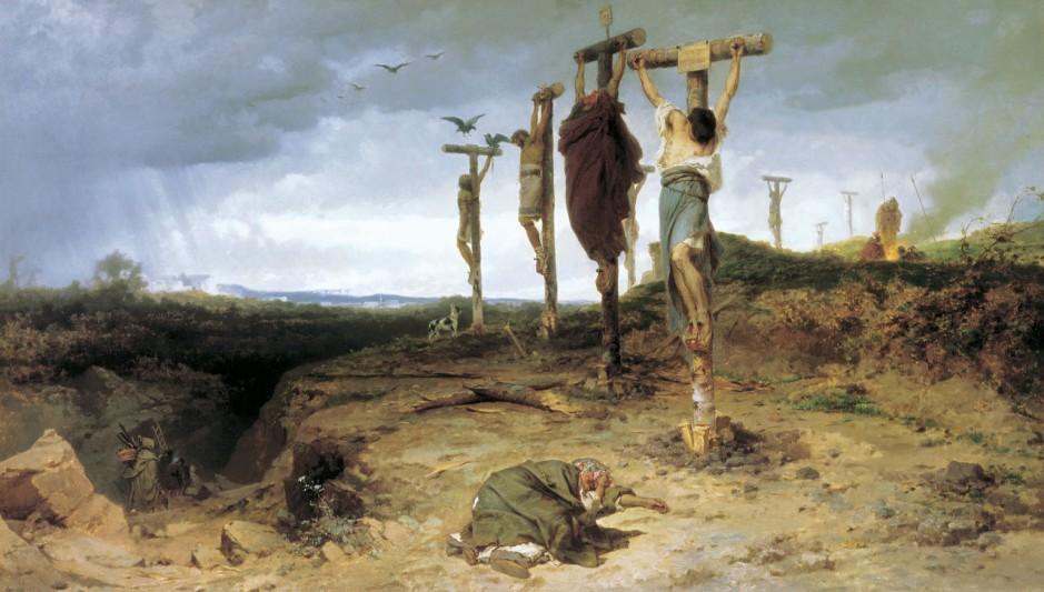 Fedor Andreevich Bronnikov (1827-1902). La caja maldita. Lugar de ejecución en la antigua Roma. Los esclavos crucificados. el año 1878. Óleo sobre lienzo. Galería Tretyakov, Moscú.