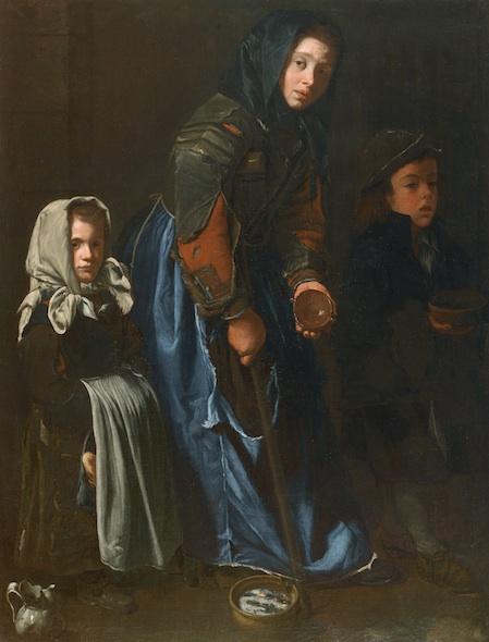 Mujer del mendigo con dos hijos