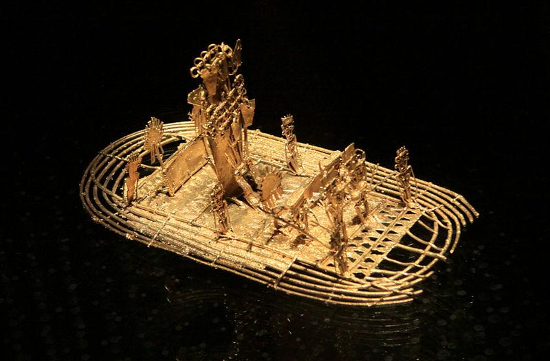 """La """"Balsa Muisca"""" representando la ceremonia original de la leyenda de """"El Dorado"""", Museo del Oro de Bogotá (Colombia)."""