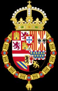 """Escudo de Armas de Felipe II Felipe III Felipe IV y Carlos II de España. Según descripción: Felipe II, Felipe III y Felipe IV, así como Carlos II (1556-1700), descargan el escudo de ornamentos externos, sustituyen la corona imperial por la real abierta (o de cuatro florones, tres de ellos vistos), manteniendo el Toisón, que a partir de entonces permanecerá en todos los escudos reales. En 1580, Felipe II se proclama rey de Portugal (de plata y cinco escudetes en azur puestos en cruz con cinco bezantes o dineros en plata puestos en sotuer, bordura de gules con siete castillos de oro) e incorpora las armas del nuevo reino al escudo, que se mantienen hasta que reconoce la independencia portuguesa en 1668, reinando Carlos II """"el Hechizado""""."""