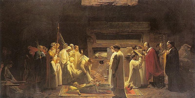 The martyrs in the catacombs