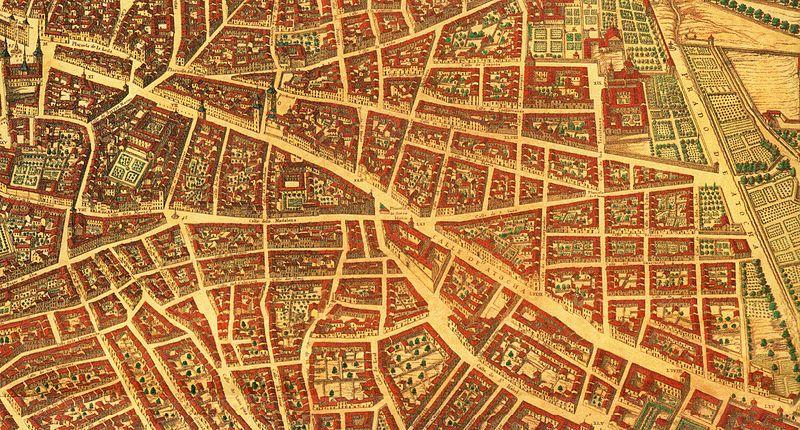 Calle de Atocha Plano_de_Madrid_de_Texeira_parteabajo003_(cropped)