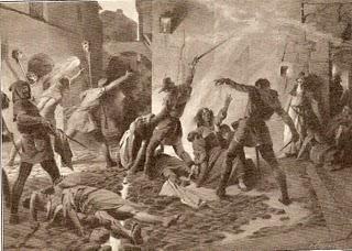 Matanza de judíos en Barcelona durante las Revueltas antijudías de 1391 - por Josep Segrelles, lámina para Historia de España, ca.1910