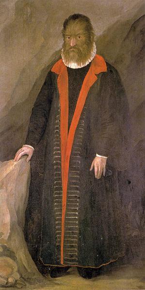 """Retrato de Pedro González, el """"Salvaje Gentilhombre de Tenerife"""". Pintura situada en la Cámara de Arte y Curiosidades del Castillo Ambras (Innsbruck, Austria)."""