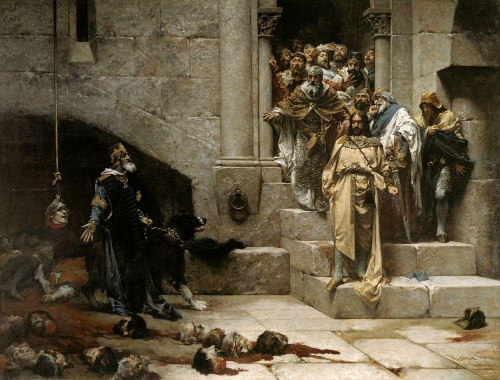 La leyenda del Rey Monje 1880. Óleo sobre lienzo, 356 x 474 cm.